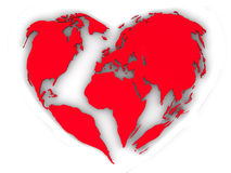 Earth in the form of heart. Very beautiful three-dimensional illustration, figure Royalty Free Stock Photos