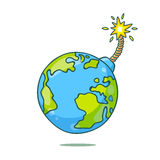 Earth in the form of round bomb Stock Images