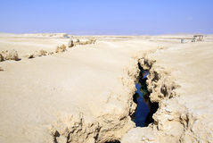 Earth fracture. With sea water in egyptian desert Stock Photos