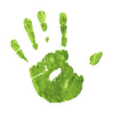 Earth Friendly Handprint. Green Impression of Hand Against a Flat Surface Royalty Free Stock Photography