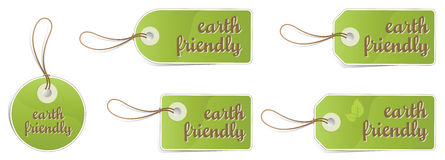 Earth friendly tags. Illustration of eco friendly tags in different shapes and sizes, isolated on white background Royalty Free Stock Photos