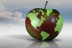 Earth and fruit. Concept image with world map on an apple Stock Photo