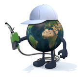Earth with fuel pump, 3d illustration Stock Photography