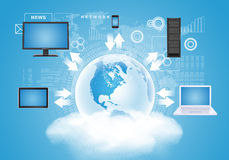 Earth with gadgets on cloud. Earth with gadgets and arrows on cloud in sky background. Elements of this image furnished by NASA Stock Image