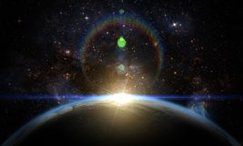 Earth, galaxy, nebula and Sun. Elements of this image furnished by NASA Stock Photo
