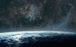 Earth and galaxy. Night Sky Space.  Stock Photos