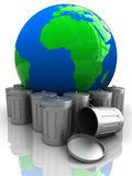 Earth with garbage Stock Images