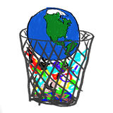 Earth in Garbage. A childlike drawing of the earth in the garbage Stock Image