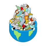 Earth garbage dump. Planet and garbage. scrapyard Vector illustration. stock illustration