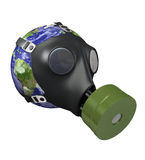 Earth with gas mask. –environmental concept image, with clipping paths.3D image. Map reference from the NASA website, which is in the public domain. See the Stock Photography