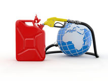 Earth, gas pump nozzle and canister Royalty Free Stock Photos