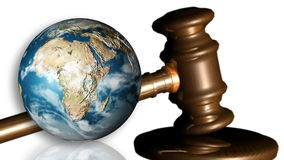 The Earth and a gavel. Concept of justice stock video footage