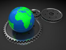 Earth and gear wheels Royalty Free Stock Image