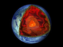 Earth geological section. 3d rendered image Royalty Free Stock Photography