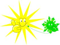 Laughing sun and laughung earth. Earth gets power from the sun Royalty Free Illustration