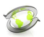 Earth With glass Arrows. Two arrows surrounding Earth globe - 3d render Royalty Free Stock Images