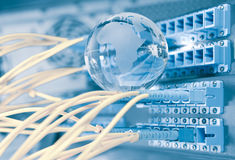 Earth glass with technology style against fiber optic Stock Image