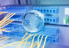 Earth glass with technology style against fiber optic Royalty Free Stock Photo