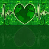 Earth Global Map Green Heart Beat Graph Royalty Free Stock Photos