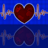 Earth Global Map Red Heart Beat Graph Stock Images
