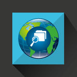 Earth global search folder connected media. Vector illustration eps 10 Royalty Free Stock Photos