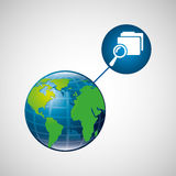 Earth global search folder connected media. Vector illustration eps 10 Stock Photo