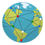 Earth, Globalization & Connections Flat Icon. Colorful planet Earth or globe flat icon with connections, isolated on white background. Globalization concept. Eps stock illustration