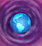 Earth globe. On abstract rotating purple background Royalty Free Stock Photo