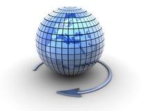 Earth globe. An arrow surrounding Earth globe - 3d render Stock Images