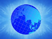 Earth Globe. Illustration depicting earth globe on a blue background Stock Image