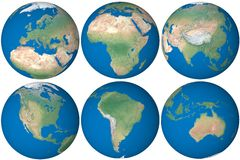 Earth globe. Map with borders of countries. Map source:Tom Patterson, www.shadedrelief.com Stock Photos
