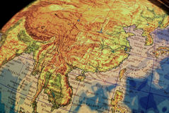 Earth globe. Detail view of China stock images