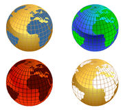 Earth globe. Set in different colors Stock Photo