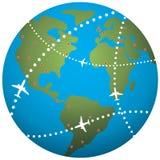 Earth globe. Vector airplane flight paths over earth globe Royalty Free Illustration