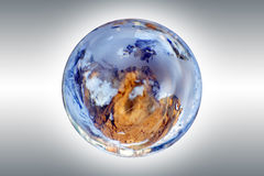 Earth and globe. Globe with the rivers and the seas and also with a land against a dark background Stock Photography