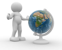 Earth globe. 3d people icon and the earth globe -This is a 3d render illustration Stock Photos
