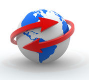 Earth globe. Two arrows surrounding Earth globe - 3d render Royalty Free Stock Photography