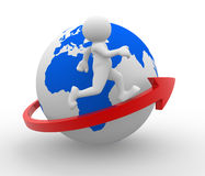 Earth globe. 3d people - human character , person running on an arrow around world. 3d render Royalty Free Stock Photo