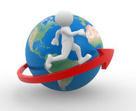 Earth globe. 3d people - human character , person running on an arrow around Earth globe. 3d render Royalty Free Stock Image