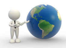 Earth globe. 3d people -  man, person present a earth globe Stock Photos