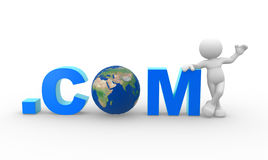 Earth globe. 3d people - man, person with word .com and Earth globe. The concept of communication Stock Image