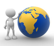 Earth globe. 3d people - man, person with a Earth globe Stock Photos