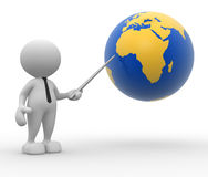 Earth globe. 3d people - man, person pointing a earth globe Stock Image