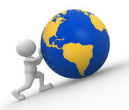 Earth globe. 3d people - man, people with earth globe Stock Images