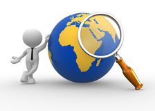 Earth globe. 3d people - man, person with a magnifying and earth globe Stock Images
