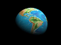 Earth globe. On black background - rendered in 3d Royalty Free Stock Photo