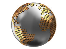 Earth globe. Abstract 3d illustration of earth globe with metal hexagons Stock Image