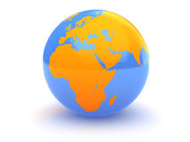 Earth globe. Abstract 3d illustration of earth globe over white background Stock Photography