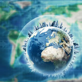 Earth globe against planet map Stock Image