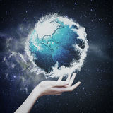 Earth globe against  starry backgrounds Royalty Free Stock Image